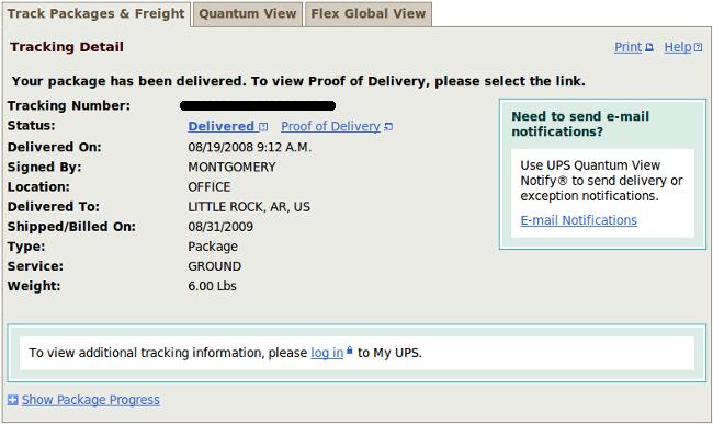 UPS tracking screenshot
